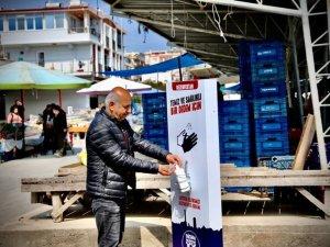 DİDİM'DE SEMT PAZARLARINA MOBİL DEZENFEKTE NOKTALARI YERLEŞTİRİLDİ