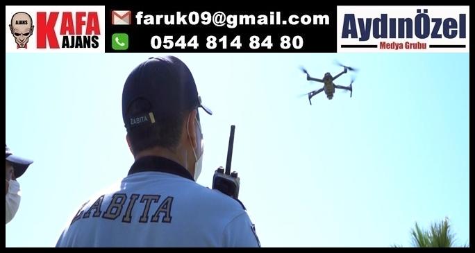 KUŞADASI BELEDİYESİ ZABITASI SAHİLLERİ DRONE İLE DENETLİYOR