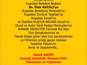 Avanak Dedektör Yapımcısı Hamit ŞAHİN'den Teşekkür