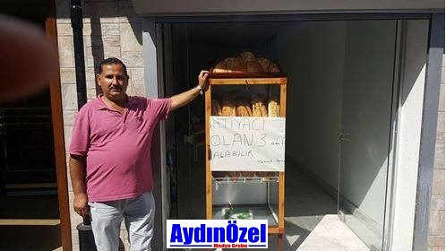 """Kuşadası'nda Şenol Ekmek Fırınını işleten Mehmet Şenol arkadaşımızdan örnek bir davranış... Hayırsever TC Mehmet Şenol ; """"İhtiyaç sahibi"""