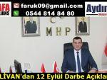 PEHLİVAN'dan 12 Eylül Darbe Açıklaması